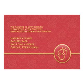 Tarjeta plana del estilo indio de la recepción invitación personalizada