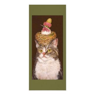 """Tarjeta plana del gato del vegano invitación 4"""" x 9.25"""""""