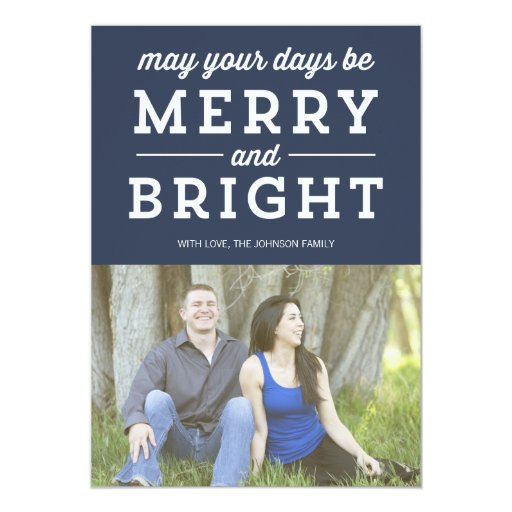 Tarjeta plana del navidad de la foto feliz y invitación 12,7 x 17,8 cm