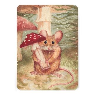 Tarjeta plana del ratón y de la seta invitación personalizada