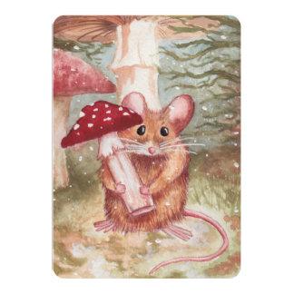 Tarjeta plana del ratón y de la seta invitación 12,7 x 17,8 cm