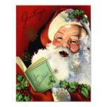 Tarjeta plana del vintage de Papá Noel Invitación 10,8 X 13,9 Cm