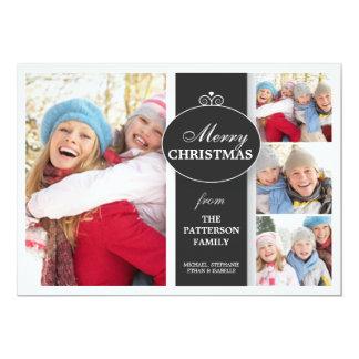 Tarjeta plana elegante de la foto negra y blanca invitación personalizada