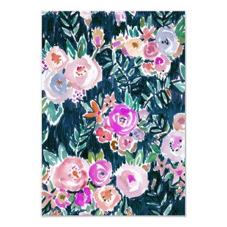 """Tarjeta plana floral color de rosa oscura de la invitación 3.5"""" x 5"""""""