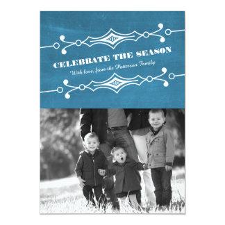 """Tarjeta plana inclinada azul de la foto del día de invitación 5"""" x 7"""""""