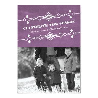 """Tarjeta plana inclinada púrpura de la foto del día invitación 5"""" x 7"""""""