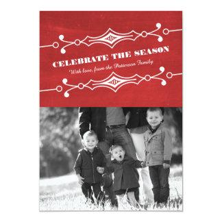 """Tarjeta plana inclinada rojo de la foto del día de invitación 5"""" x 7"""""""