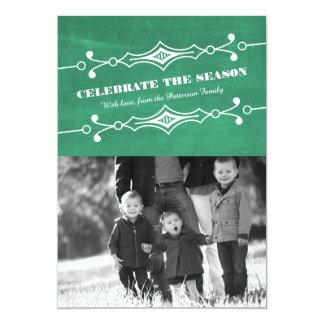 """Tarjeta plana inclinada verde de la foto del día invitación 5"""" x 7"""""""