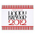 Tarjeta plana negra roja de la Feliz Año Nuevo 201 Comunicado Personal