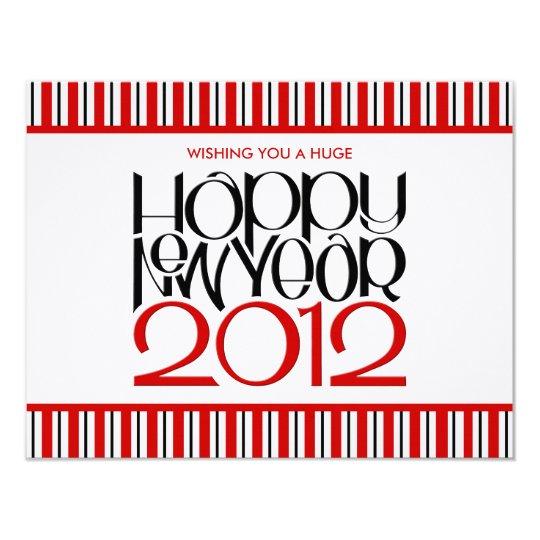 """Tarjeta plana negra roja de la Feliz Año Nuevo Invitación 4.25"""" X 5.5"""""""