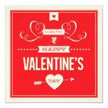 Tarjeta plana roja del el día de San Valentín Comunicado Personalizado