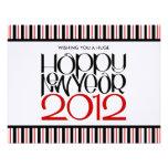 Tarjeta plana roja negra de la Feliz Año Nuevo 201 Anuncios