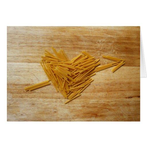 Tarjeta plegable del amor de los espaguetis