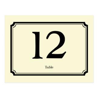 Tarjeta poner crema negra del número de la tabla postales
