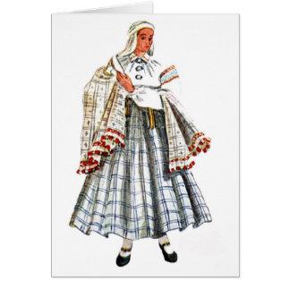 Tarjeta popular tradicional letona del traje