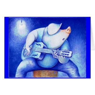 Tarjeta porcina de los azules