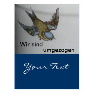 Tarjeta postal de mudanza de paro de azul
