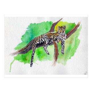 Tarjeta postal leopardo acuarela