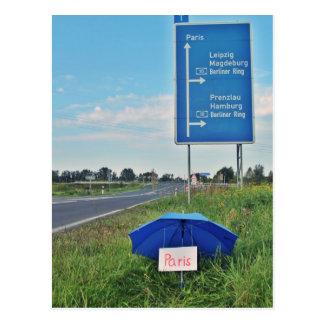 Tarjeta postal - por autoestopistas en camino