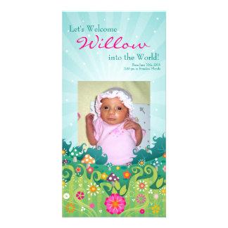 Tarjeta preciosa de la foto de la primavera plantilla para tarjeta de foto