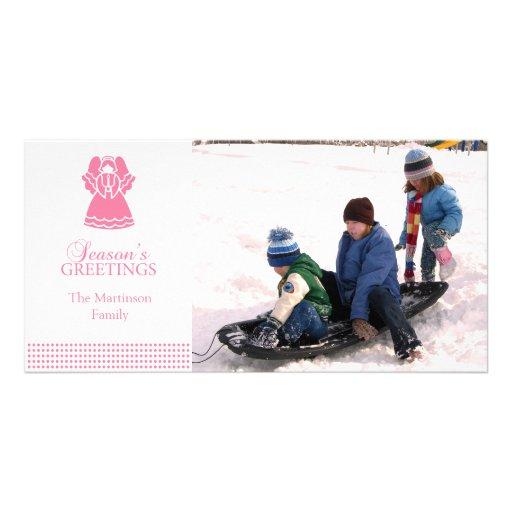 Tarjeta preciosa de la foto del navidad del ángel  tarjeta con foto personalizada