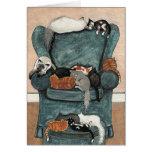 Tarjeta preferida de la silla de los gatos por
