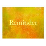 Tarjeta profesional anaranjada del recordatorio de tarjetas postales