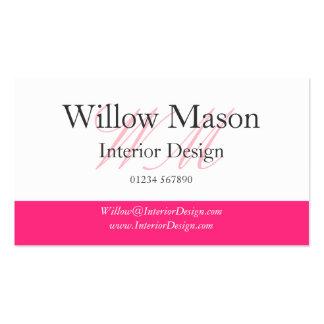 Tarjeta profesional del rosa y blanca de visita tarjetas de negocios