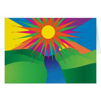 tarjeta pschyedelic del sol