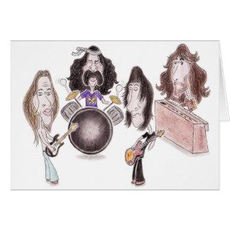 Tarjeta psicodélica de la caricatura del rock prog