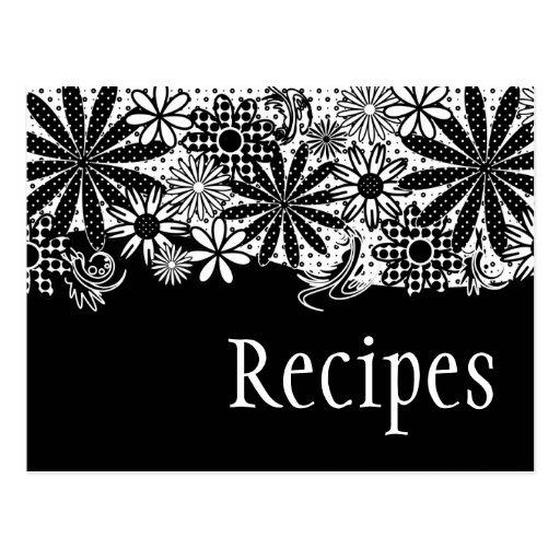 Tarjeta punteada blanco y negro de la receta de postales