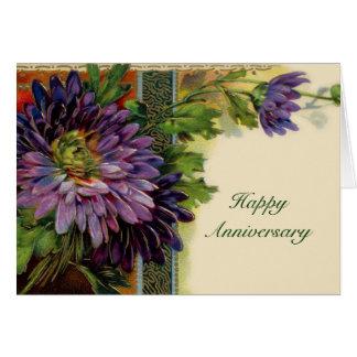 Tarjeta púrpura adaptable de la flor - añada su te