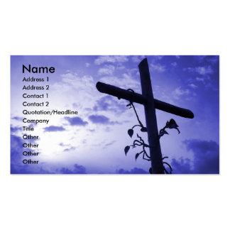 Tarjeta púrpura cruzada santa del perfil de la tar plantillas de tarjetas personales