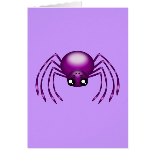 Tarjeta púrpura de la araña del dibujo animado ada
