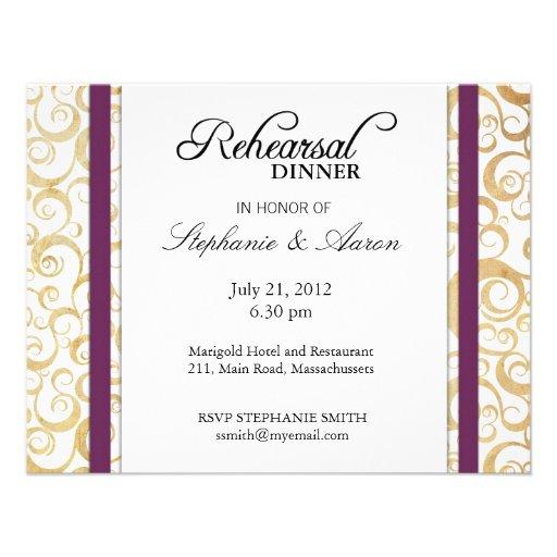 Tarjeta púrpura de la cena del ensayo del remolino comunicados personalizados