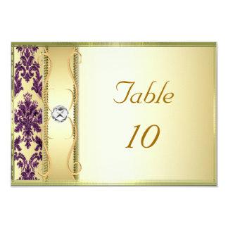 """Tarjeta púrpura de la colocación del damasco del invitación 3.5"""" x 5"""""""