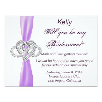 Tarjeta púrpura de la dama de honor del corazón invitación personalizada