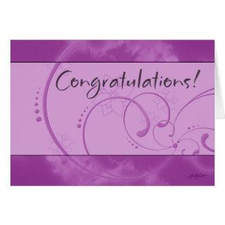 Tarjeta (púrpura) de la enhorabuena