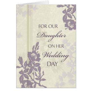 Tarjeta púrpura de la enhorabuena del boda de la h