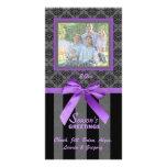 Tarjeta púrpura de la foto de la cinta del damasco tarjetas con fotos personalizadas