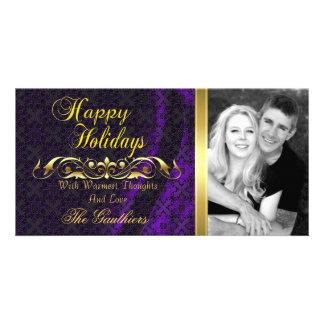Tarjeta púrpura de la foto del día de fiesta de la tarjetas fotograficas