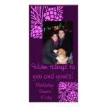 Tarjeta púrpura de la foto del día de fiesta del c tarjetas fotograficas