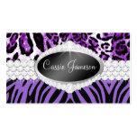 Tarjeta púrpura de la foto del leopardo de la cebr tarjetas personales