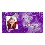 Tarjeta púrpura de la foto del navidad del resplan tarjeta personal