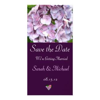Tarjeta púrpura de la invitación del boda del Hydr Tarjetas Fotográficas
