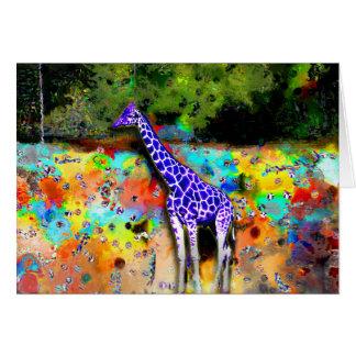 Tarjeta púrpura de la jirafa