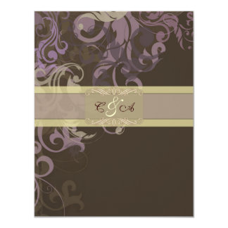 """Tarjeta púrpura de la recepción nupcial de invitación 4.25"""" x 5.5"""""""