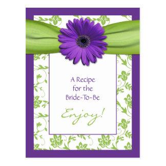 Tarjeta púrpura de la receta de la margarita para
