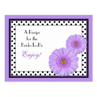 Tarjeta púrpura de la receta de la margarita para  tarjeta postal