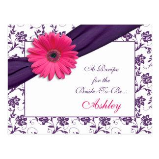 Tarjeta púrpura de la receta del damasco de la tarjeta postal